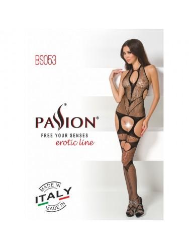 Lingerie - Combinaisons - Bodystocking noire dos-nu avec jarretelle sexy BS053 - Passion