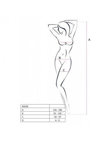 Lingerie - Combinaisons - Bodystocking noire douce avec larges bretelles et motif original BS038a - Passion