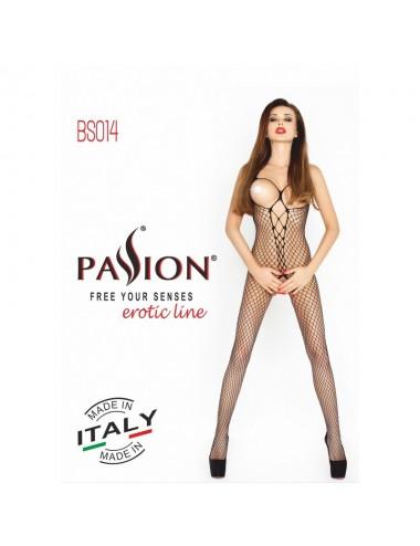 Lingerie - Combinaisons - Bodystocking en résille noire noué derrière BS014 - Passion