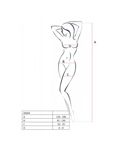 Lingerie - Combinaisons - Bodystocking en fine résille noire avec motif effet dentelle BS004 - Passion