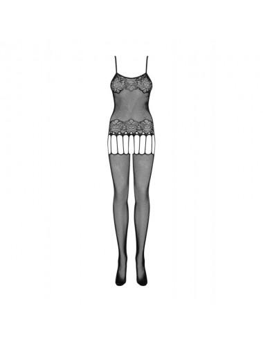 Lingerie - Combinaisons - Bodystocking noire avec motif floral et délicates jarretelles F235 - Obsessive