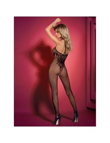 Lingerie - Combinaisons - Bodystocking sexy noire avec motifs tattoos G308 - Obsessive