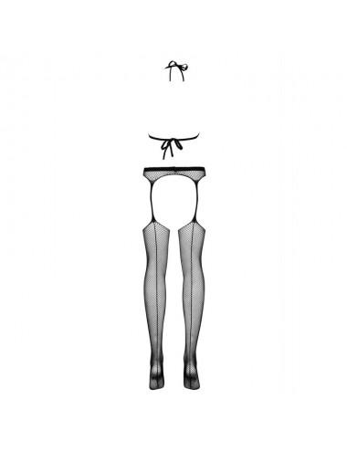 Lingerie - Combinaisons - Bodystocking noire élégant et frivole avec porte-jarretelles N108 - Obsessive