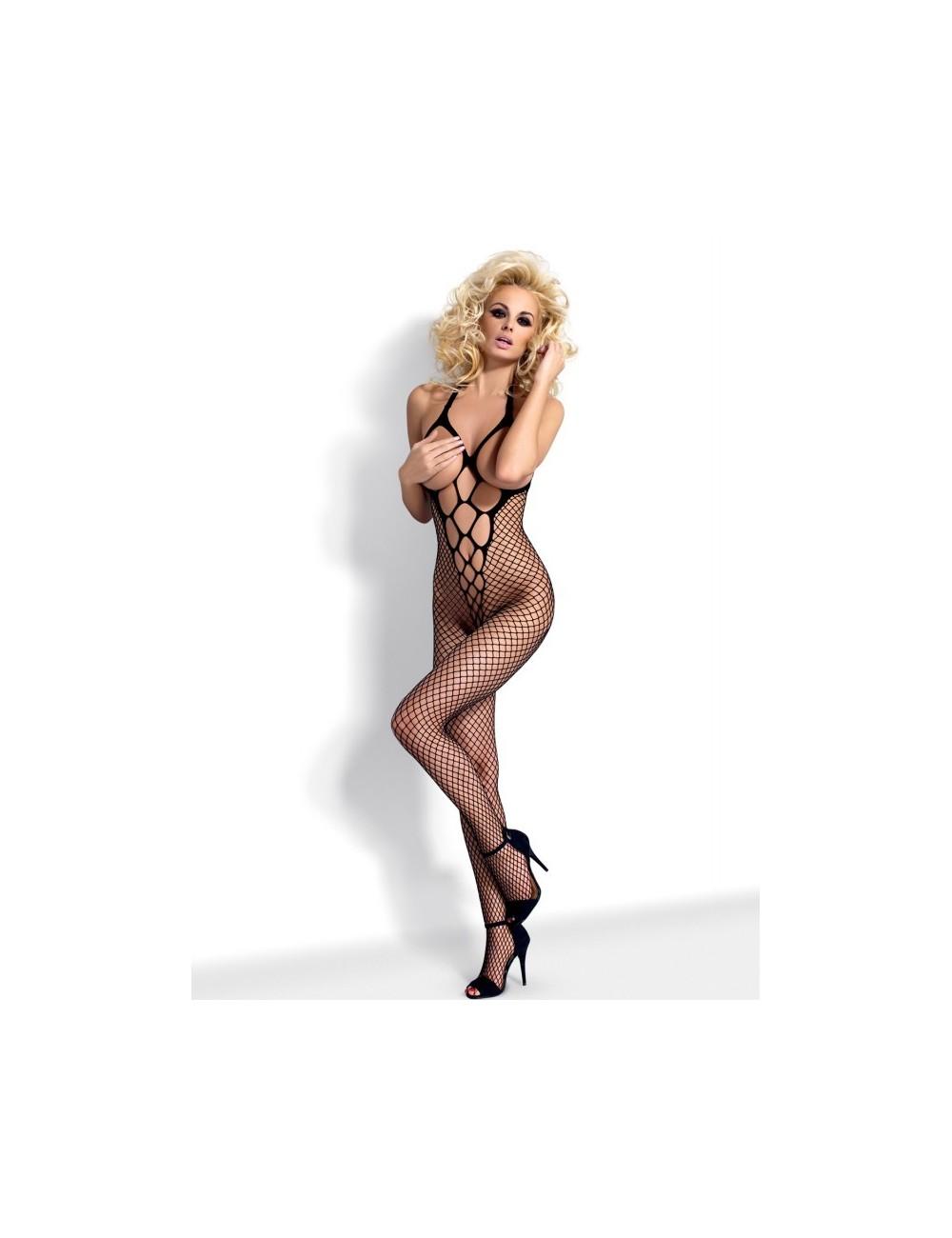 Lingerie - Combinaisons - Bodystocking en résille noire ouverte à l'entre-jambes N106 - Obsessive