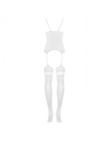 Lingerie - Combinaisons - Bodystocking en résille blanche avec avec bas jarretelles ajourés F214 - Obsessive