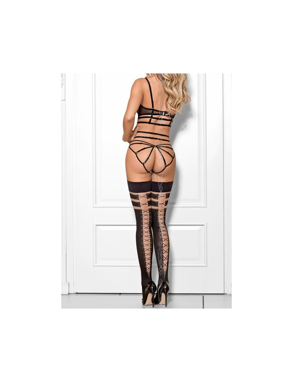 Lingerie - Bas - Bas noire opaque avec effet laçage façon corset Churro con nutella V-7684 - Axami