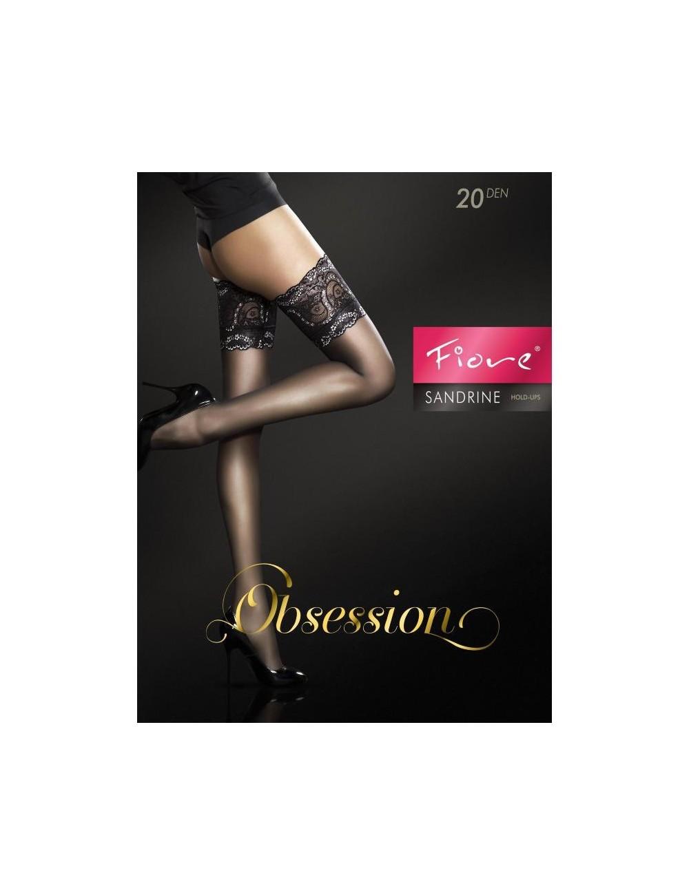 Lingerie - Bas - Bas en dentelle sexy noire avec double bande silicone 20 DEN Sandrine - Fiore