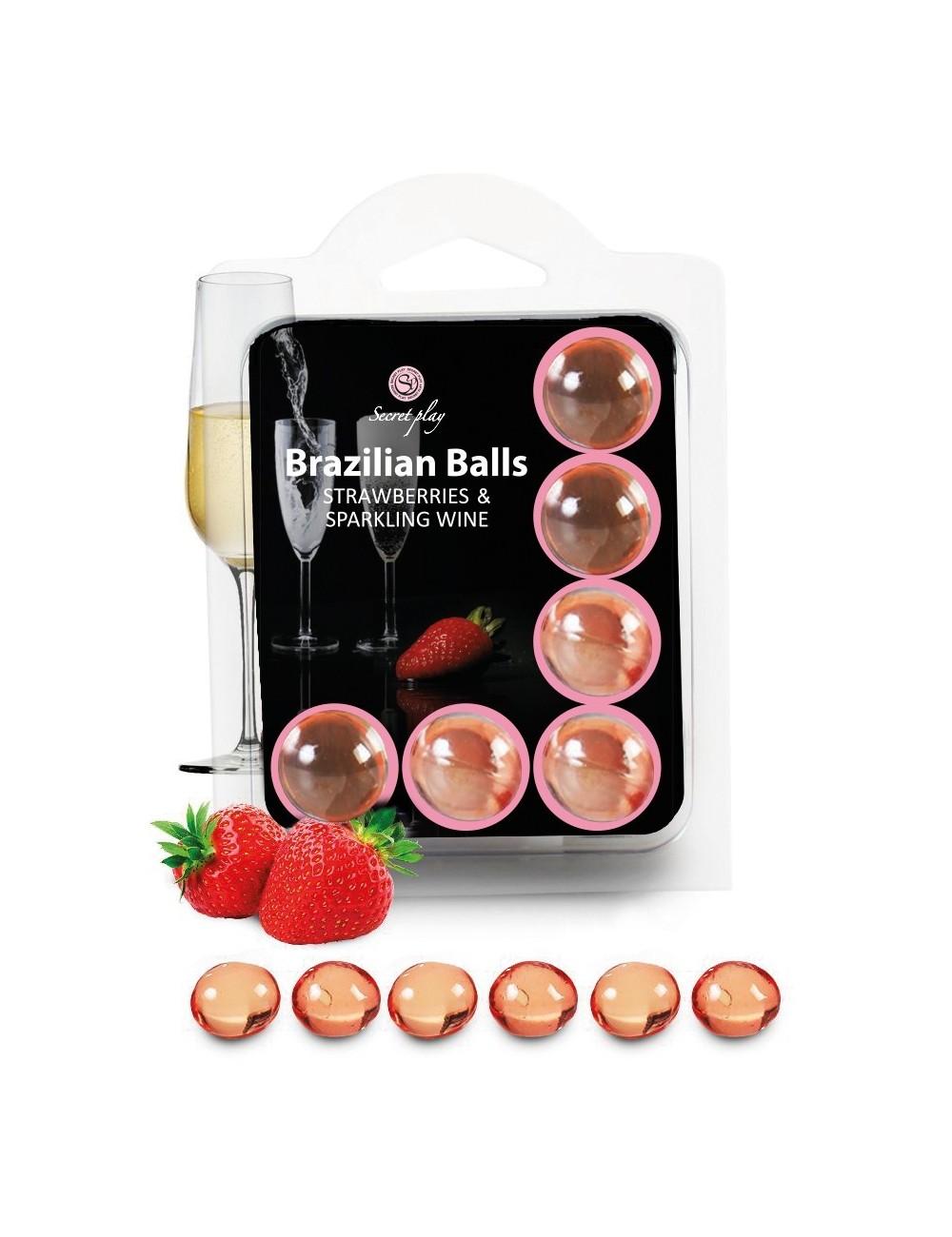 6 Brazilian Balls Fraise Champagne 3386-2 - Huiles de massage - Brazilian Balls