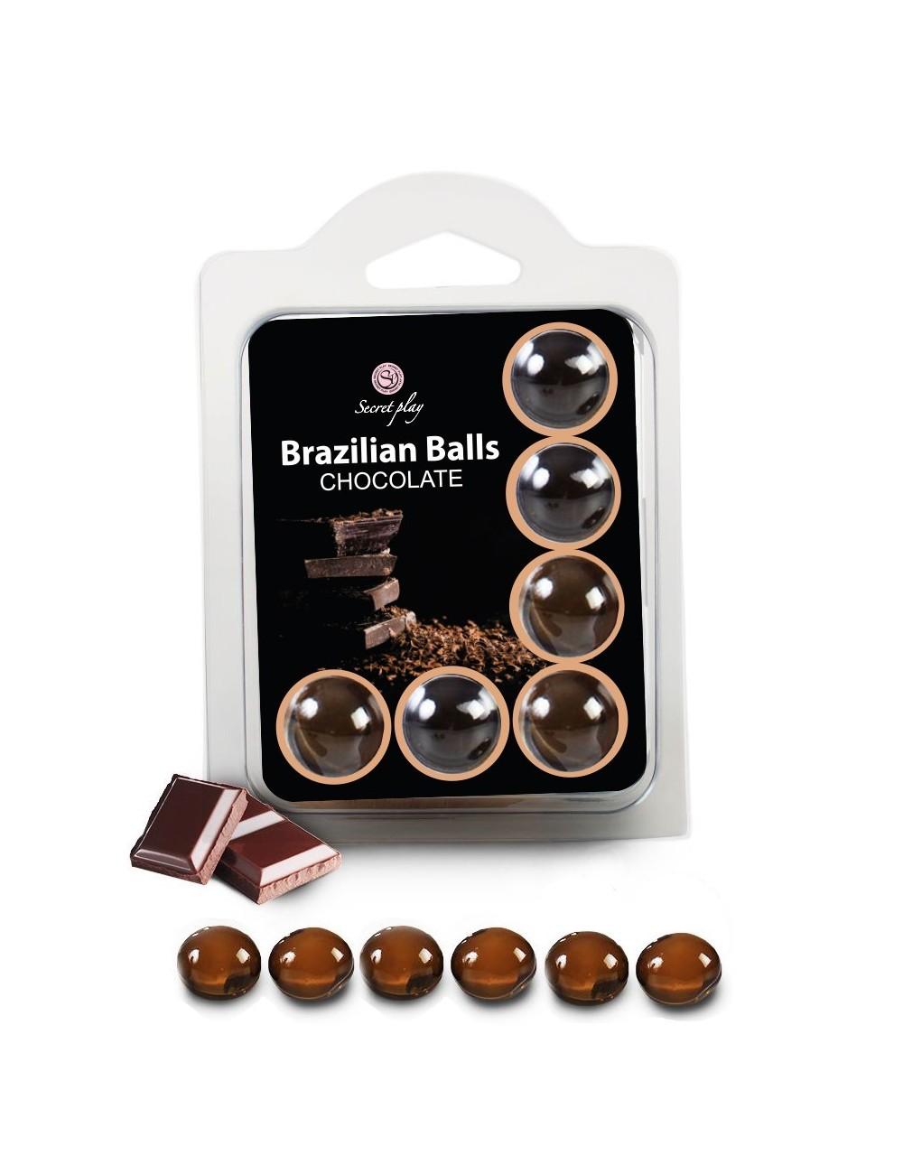 6 Brazilian Balls huile de massage au parfum Chocolat 3386-1 - Huiles de massage -