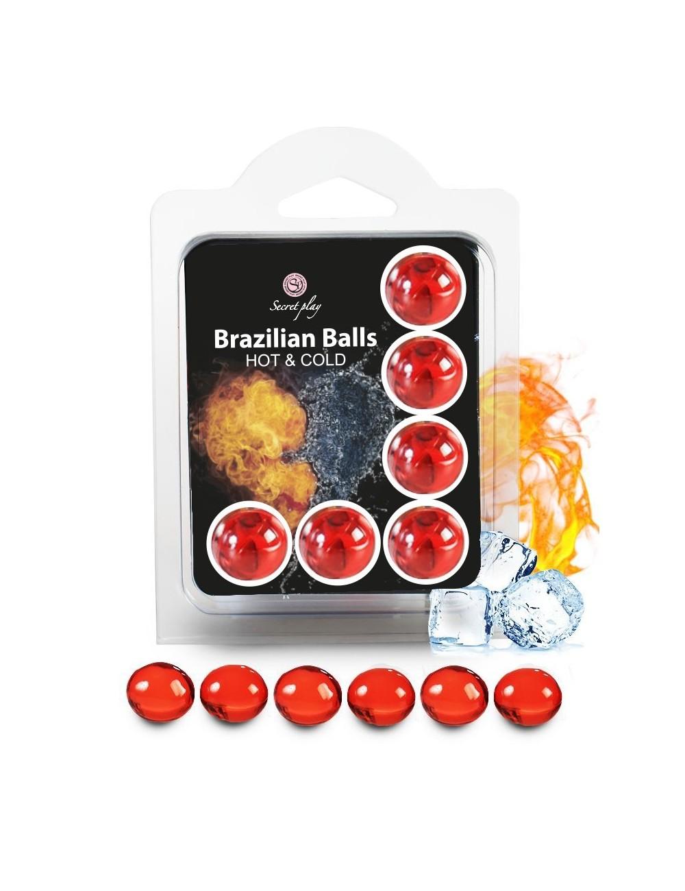 6 Brazilian Balls huile de massage effet chaud et froid 3629-1 - BZ-03753 - Huiles de massage -