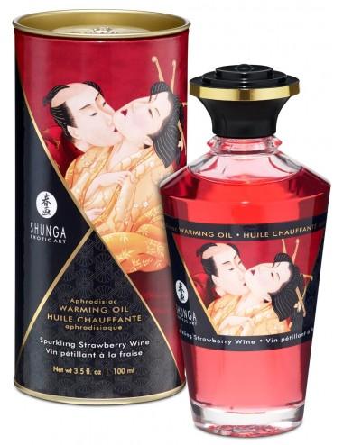 Huile chauffante aphrodisiaque - Vin pétillant à la fraise 100ml - Huiles de massage - Shunga