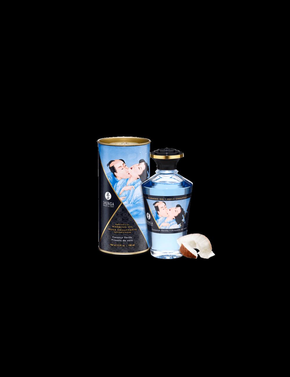 Huile chauffante aphrodisiaque - Frissons de coco 100ml - Huiles de massage - Shunga