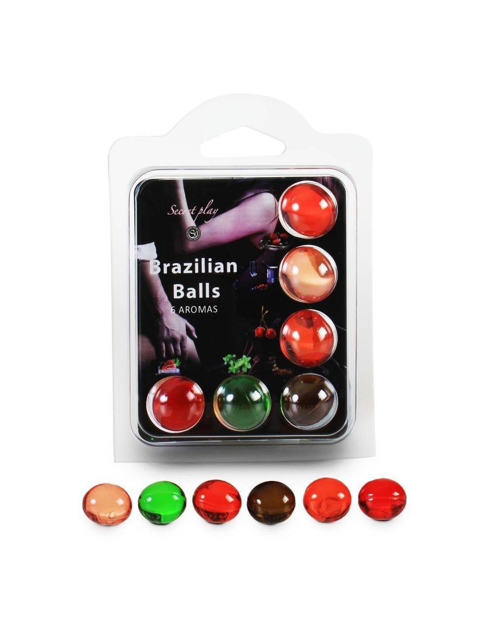 6 Brazilian Balls Boules pour massage aux fruits Aroma 3386 - BZ-03269 - Huiles de massage -