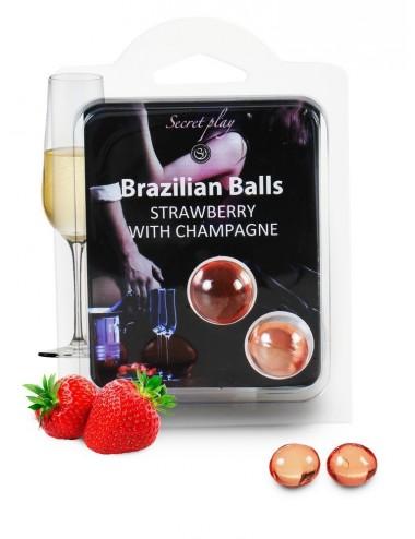 Duo Brazilian Balls Fraise champagne 3385-2 - Huiles de massage - Brazilian Balls