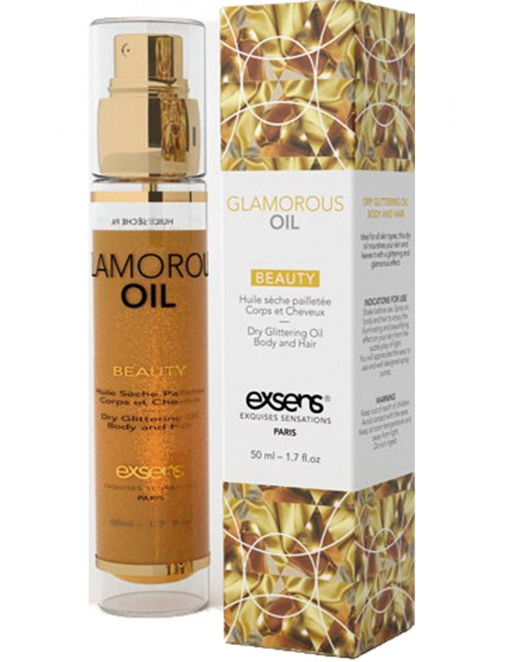 Huile sèche pailletée 50ml Glamorous amande douce pour une peau dorée - Huiles de massage - Exsens