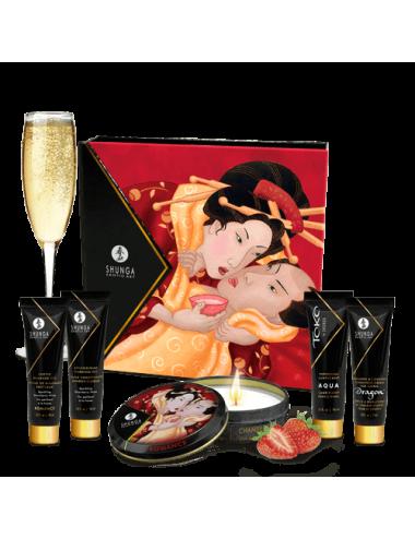 Kit Secret de Geisha - Vin pétillant à la fraise - Huiles de massage - Shunga