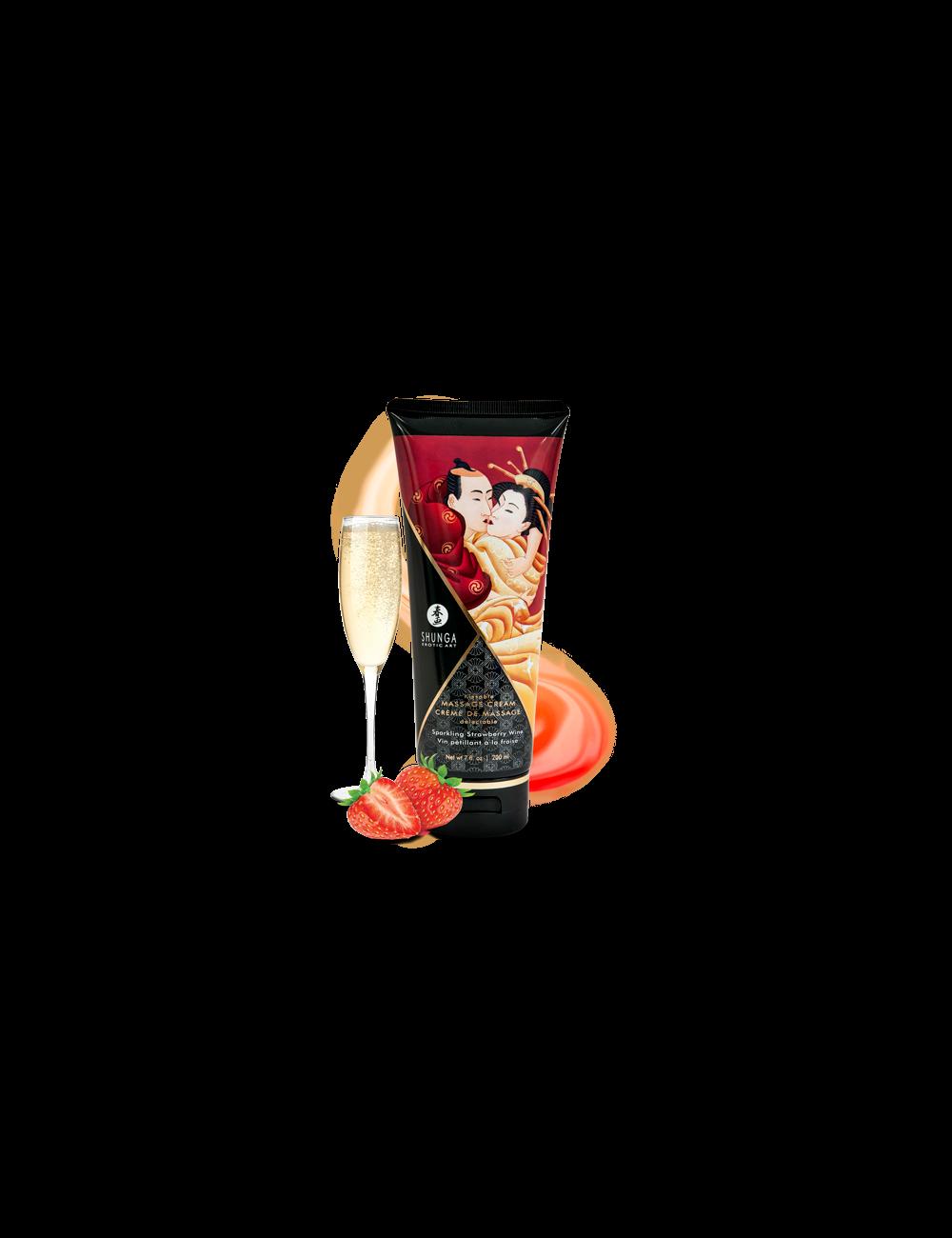 Crème de Massage délectable - Vin pétillant à la fraise - Huiles de massage - Shunga