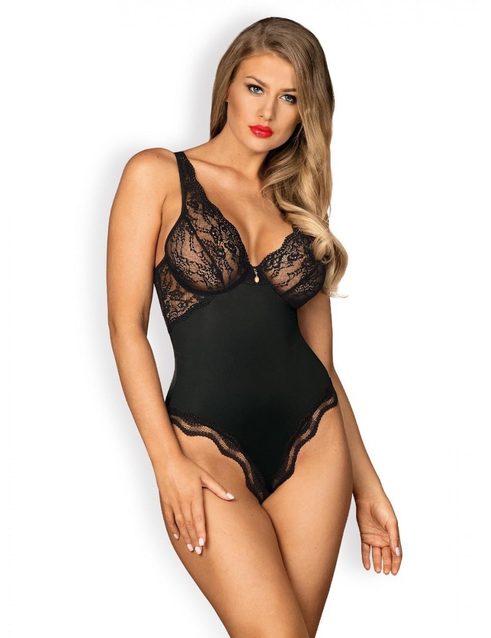 Lingerie - Bodys - Body en dentelle délicate noire avec bretelles Luvae - Obsessive