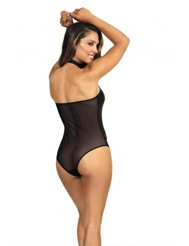 Lingerie - Bodys - Body sexy noire en latex et d'un voile transparente V-9150 - Axami