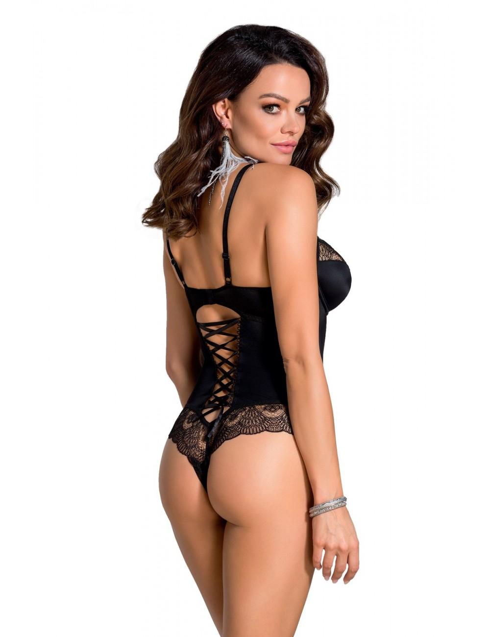 Lingerie - Bodys - Body sexy noire avec armatures pour la poitrine Alina - Casmir