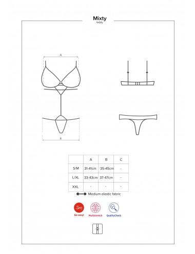 Lingerie - Bodys - Body sexy en dentelle noire jeu de galon élastiques Mixty - Obsessive