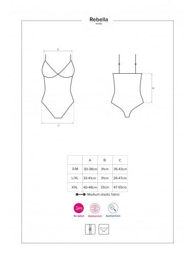 Lingerie - Bodys - Body effet cuir et laçage noire sexy avec entrejambe ouverte Redella - Obsessive