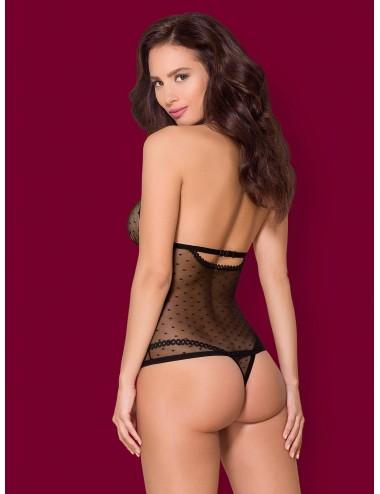 Lingerie - Bodys - Body en tissus délicates noire et entrejambe ouverte 876-TED-1 - Obsessive