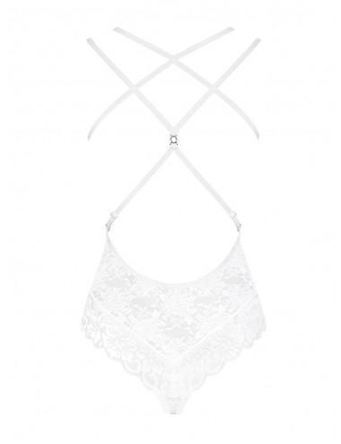 Lingerie - Bodys - Body fine dentelle blanche au motif et bretelles à dos nu 860-TED-2 - Obsessive