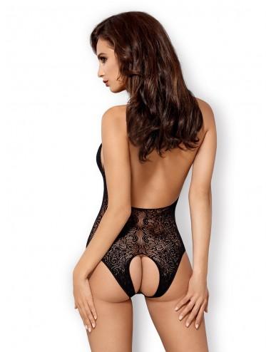 Lingerie - Bodys - Body en dentelle noire et maille fine satiné B113 - Obsessive
