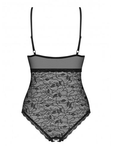 Lingerie - Bodys - Body noire semi-transparente avec motif à fleur et bijou 818-TED-1 - Obsessive