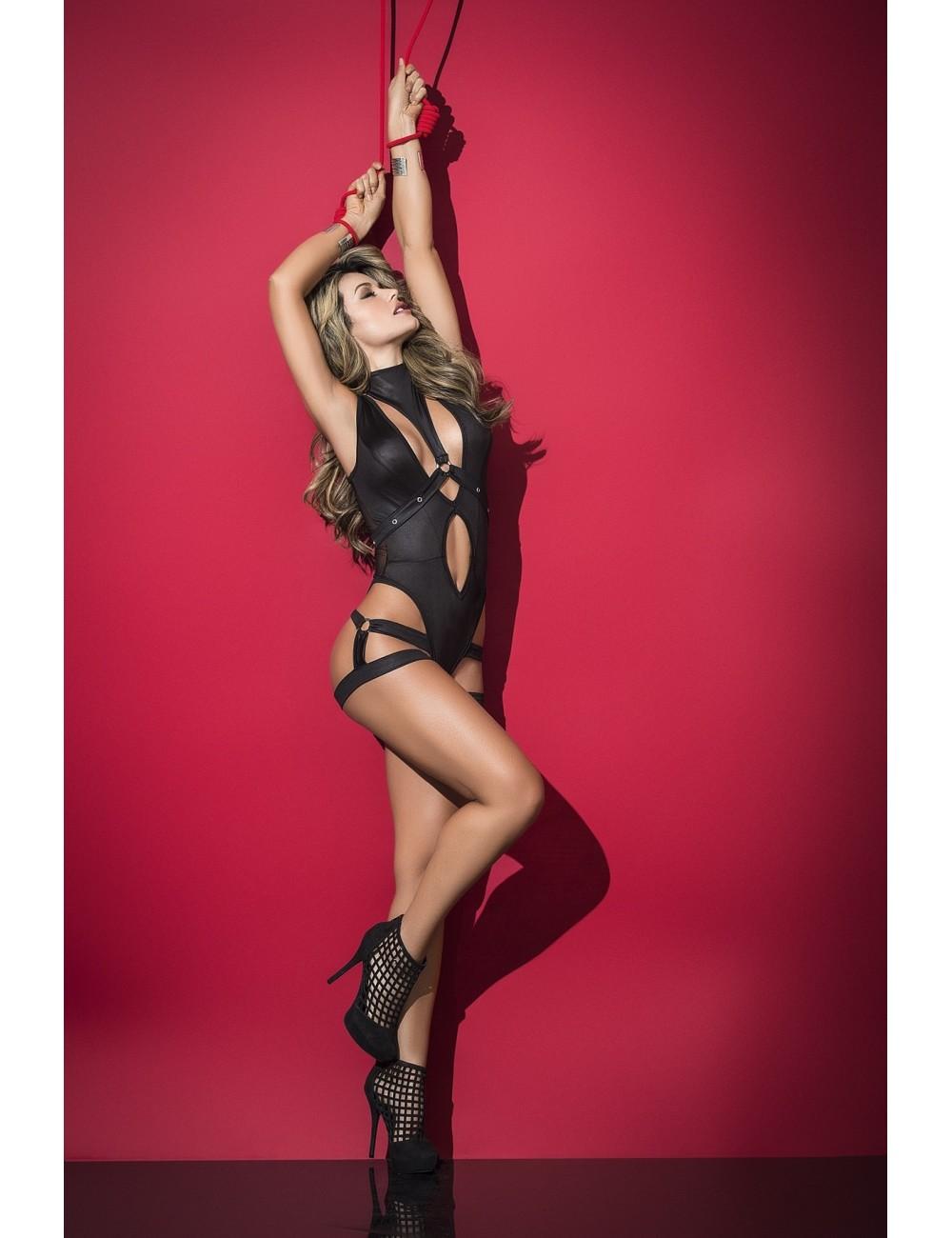 Lingerie - Bodys - Body à effet humide semi-transparente noire et ouverture nombril Style 2500 - Mapalé