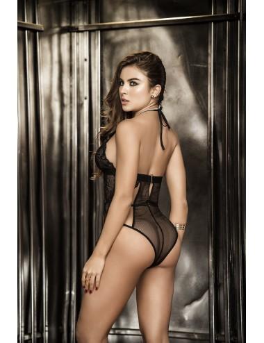 Lingerie - Bodys - Body dentelle et fine resille noire ultra sexy Style 8262 - Mapalé