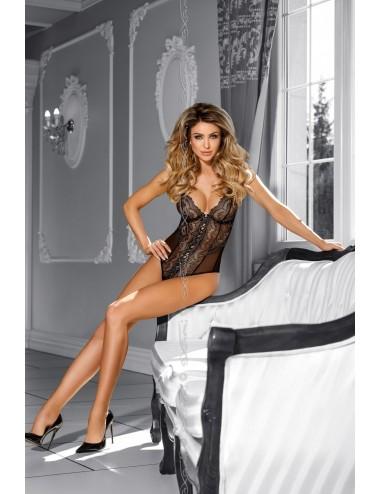 Lingerie - Bodys - Body dentelle Caramel fine maille transparente Fudge - Axami