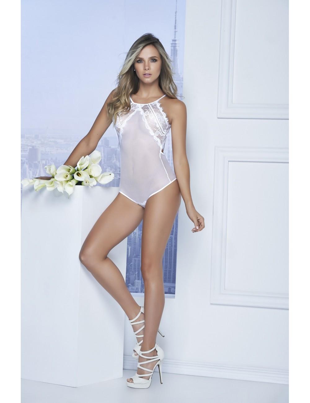 Lingerie - Bodys - Body fine dentelle blanche et de tulle Style 7108 - Mapalé