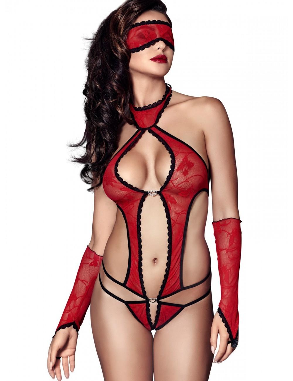 Lingerie - Bodys - Body dentelle élastique avec masque, mitaines rouge Ashley - Anaïs