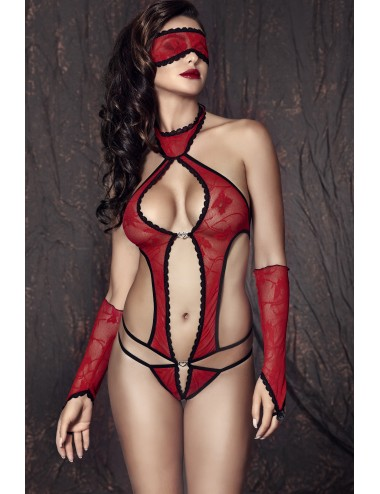 Lingerie - Bodys - Ashley Body, Masque Mitaines - Rouge - Anaïs
