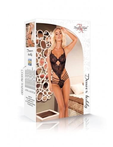 Lingerie - Bodys - Body dentelle noire avec string assortie Denver - Beauty Night