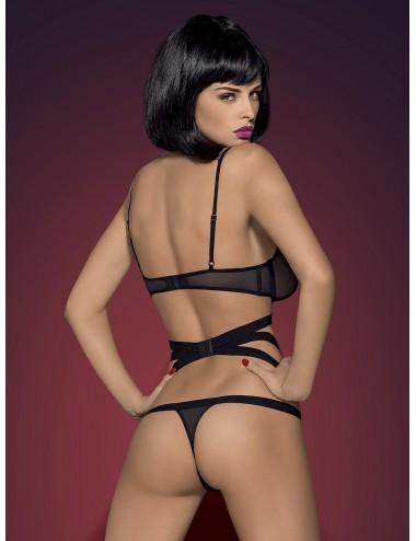 Lingerie - Bodys - Body string noire dessin sur corps et bandes du ventre élastiques Bondy - Obsessive