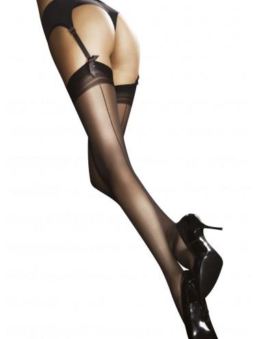 Lingerie - Bas - Bas sexy jarretières Beige Doré avec petit trait noire 20 DEN Marlena - Fiore