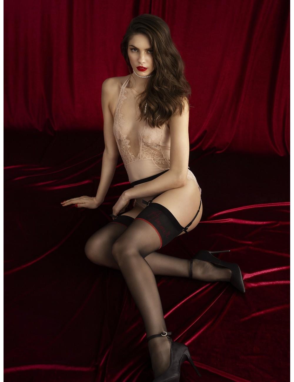 Lingerie - Bas - Bas sexy noire avec fils à double enrobage 20 DEN Qualité premium Amante - Fiore