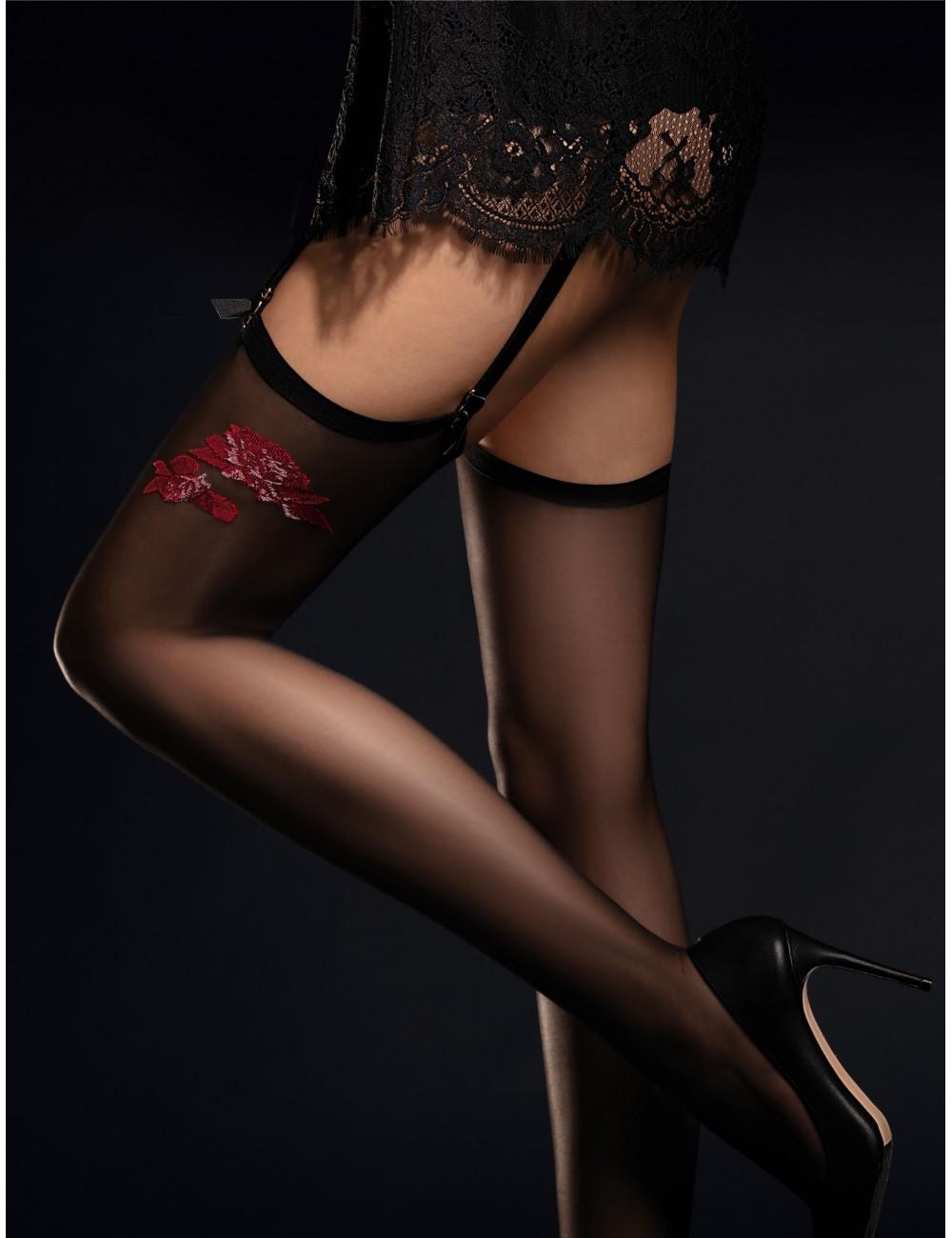 Lingerie - Bas - Bas noire avec motif floral rouge 20 DEN Piccante - Fiore