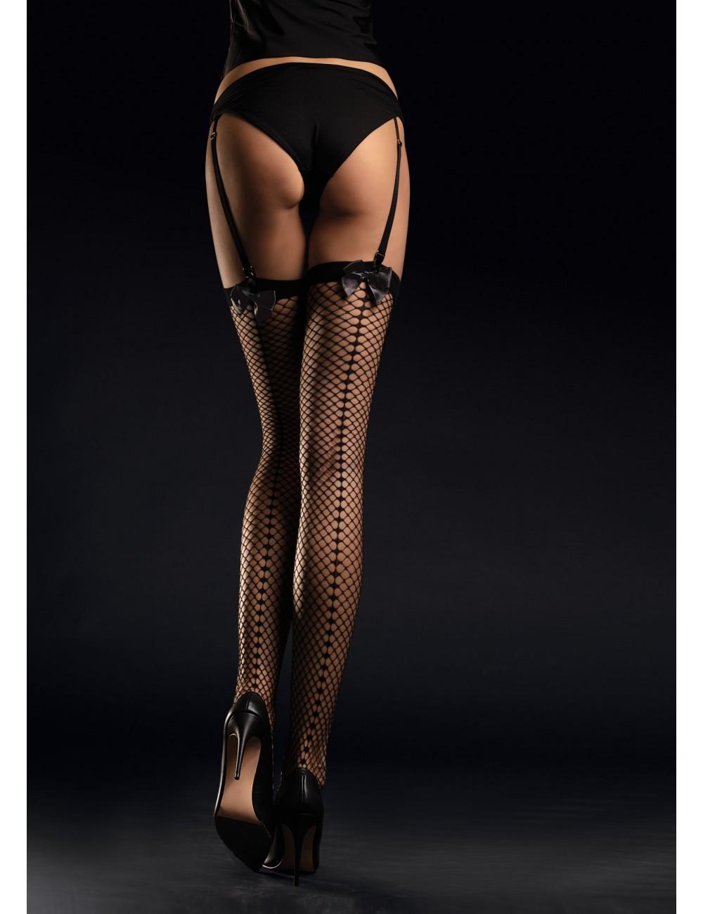 Lingerie - Bas - Bas noire avec couture à l'arrière tissée et un joli nœud noir en satin 30 DEN Satine - Fiore