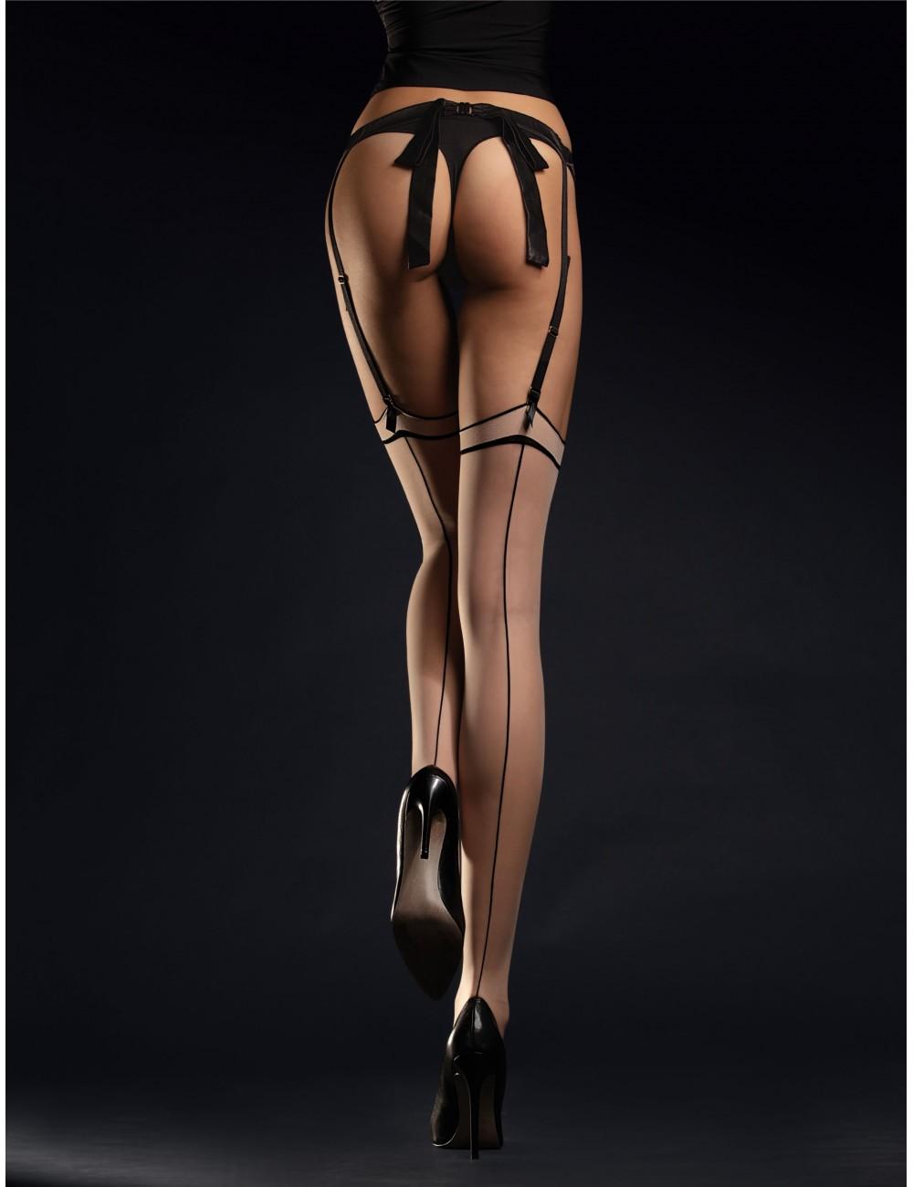 Lingerie - Bas - Bas sexy noire avec jarretiere 20 DEN Nude Madame - Fiore