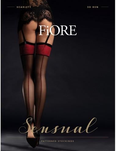 Lingerie - Bas - Bas sexy noire avec jarretière et couture rouge 20 DEN Scarlett - Fiore