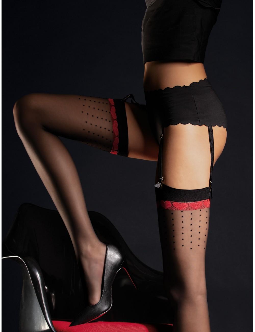 Lingerie - Bas - Bas sexy à motifs noire et rouge et jarretière ornée de cristaux 20 DEN Lovely - Fiore