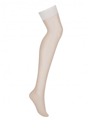Lingerie - Bas - Bas sexy en maille douce blanche et élastique Ecru S800 - Obsessive