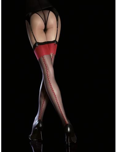 Lingerie - Bas - Anais Bas 20 DEN - Noir rouge - Fiore