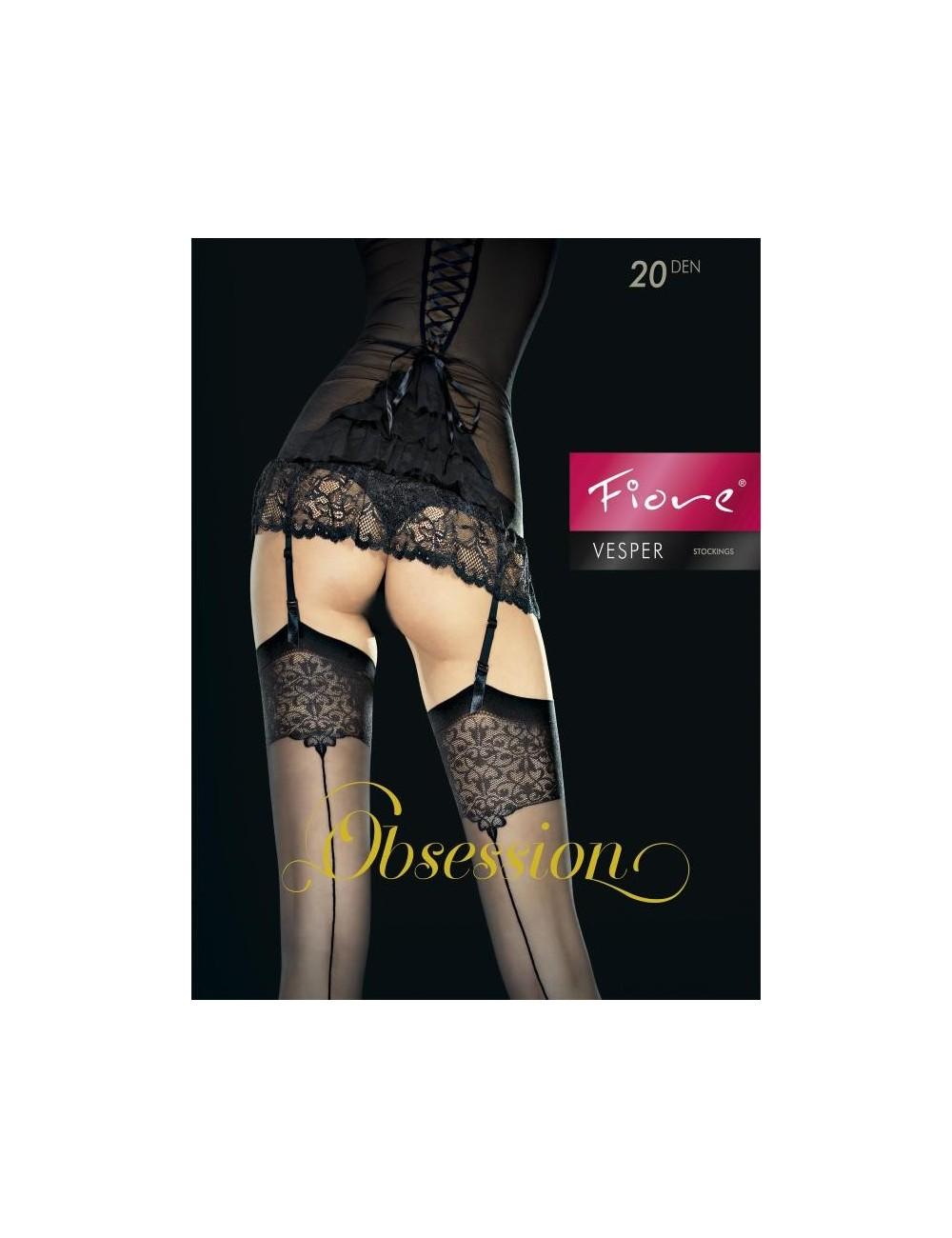 Lingerie - Bas - Bas sexy noire avec jarretière à motifs délicats 20 DEN Vesper - Fiore