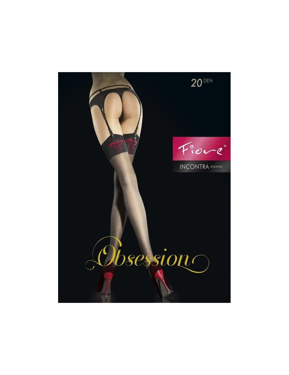 Lingerie - Bas - Bas sexy noire jarretière avec dessin cœur 20 DEN Incontra - Fiore