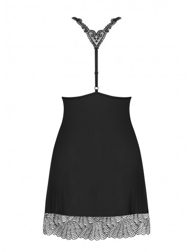 Lingerie - Nuisettes - Nuisette noire à dentelle guipure avec une décoration brillante Chiccanta - Obsessive